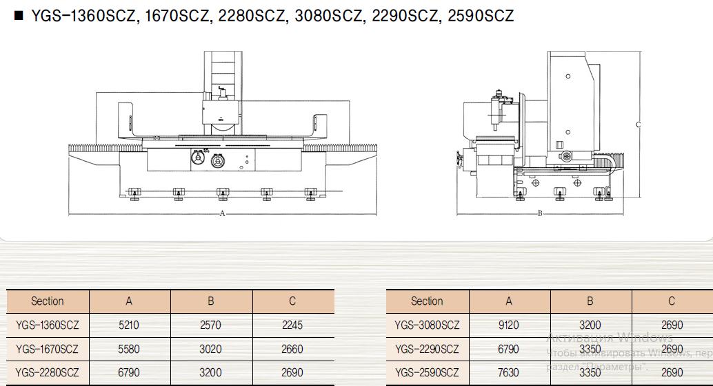 Плоскошлифовальные станки с подвижной колонной - Габаритные размеры
