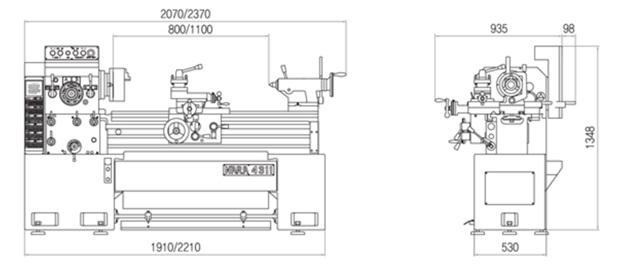 Габариты Универсально-токарные корейские станки серии G.O.M.T. NARA серия 430