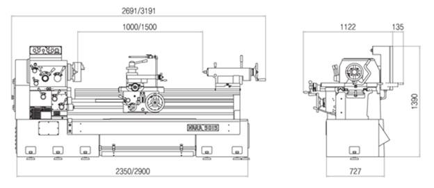 Габариты Универсально-токарные корейские станки серии G.O.M.T. NARA серия 500