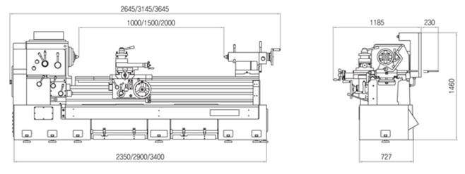 Габариты Универсально-токарные корейские станки серии G.O.M.T. NARA серия 600